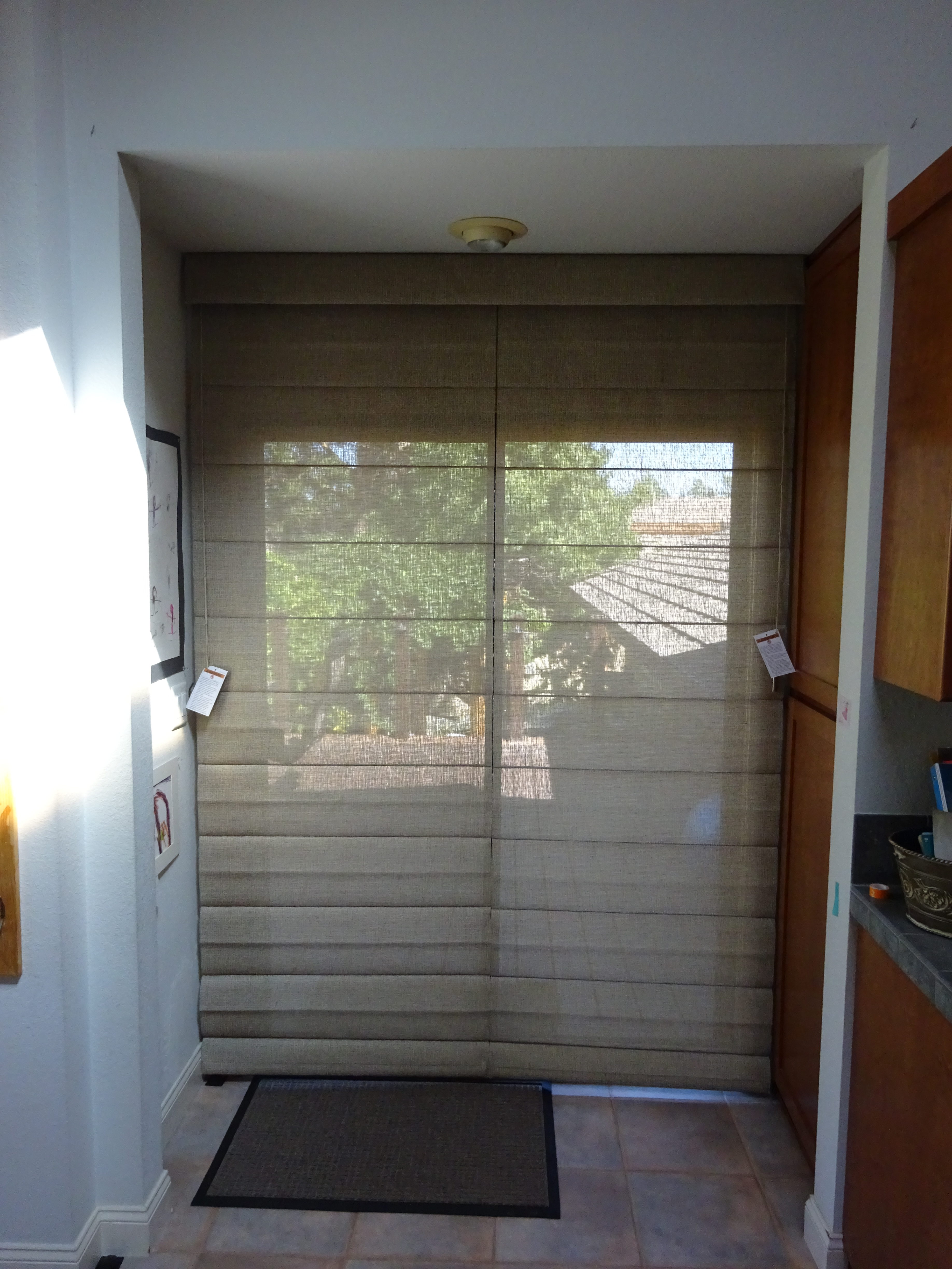 Solar Screen Shades In Roman Shade Style For Reno Homeowner